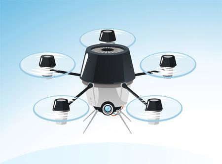 drones: Drone Drones Volare, illustrazione vettoriale cartone animato