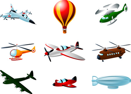 monoplane: Flying Aircraft Plane Air Balloon Helicopter Zeppelin Vector Illustration cartoon.
