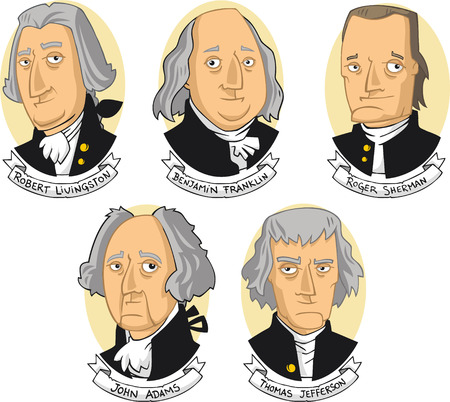 United states of america founding fathers cartoon collection  イラスト・ベクター素材