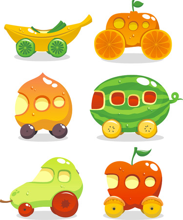 Fun set of six cars made up out of fruits Vector