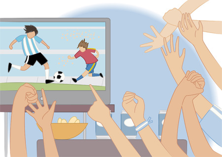 homme couch�: Amis regarder une illustration de match de football