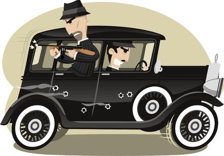 gang member: Gangsters Mob Gunman, vector illustration cartoon.