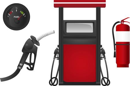 燃料給油所石油化学サービス ガソリン ワーク ショップ ベクトル イラスト。