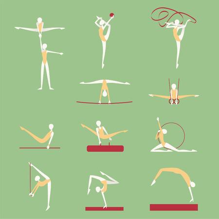 pommel: Gymnastics & Athletics Poses Positions Icons. Vector illustration cartoon.