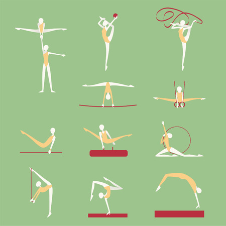 Gymnastics & Athletics Poses Positions Icons. Vector illustration cartoon.