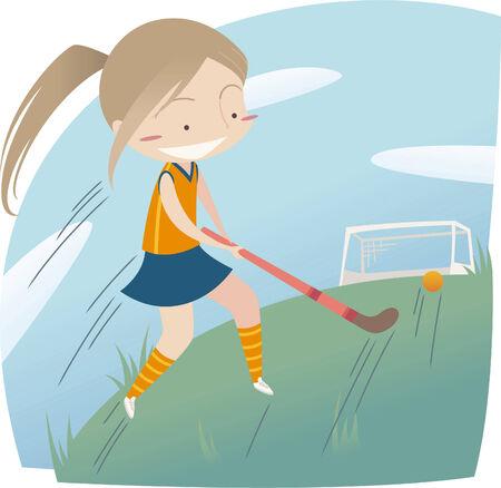 Meisje spelen hockey Stock Illustratie