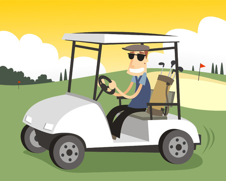 golfer driving a Golf cart in a sunny day.