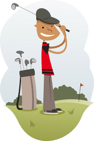 backlit: Golfer cartoon illustration