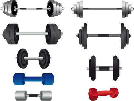 weight machine: Gymnasium weights icons Illustration