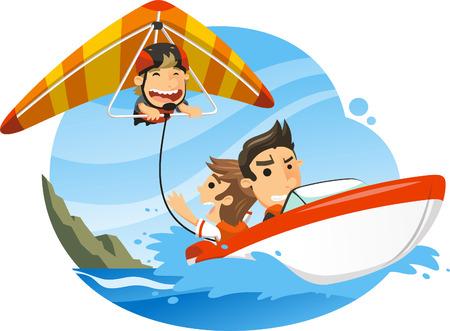 Hang glider, gliding pushed by shore boat, vector illustration cartoon.