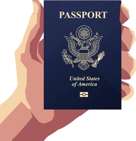 Man holding an American Passport PP Vector illustration cartoon.  イラスト・ベクター素材