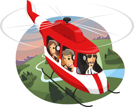 helicopter: Helicopter Tour Air Travel, vector illustration cartoon.