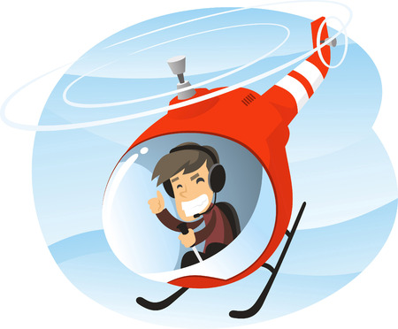 fixed wing aircraft: Vector cartoon illustration of a man piloting a helicopter.