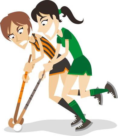 Vrouwen hockey spelers cartoon