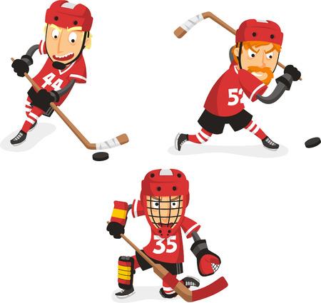 3 つの異なる位置でホッケー選手とアクション セット内のアイス ホッケー プレーヤー。ベクトル イラスト漫画。