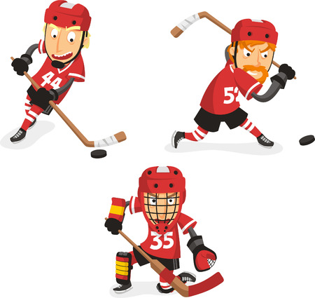 Ice Hockey Player in Action Set, with hockey player in three different positions. Vector illustration cartoon. Vettoriali