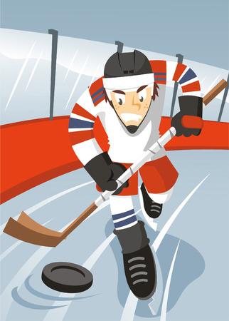 ice hockey player: Ice hockey player cartoon illustration