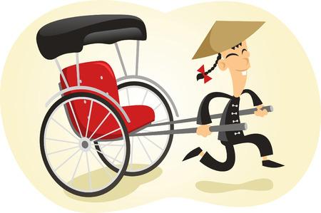 pulled: Pulled rickshaw illustration