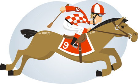 Polo Jockey riding horse with brown horse, equestrian helmet, riding bootsm white trousers, gloves, wristbands, kneepads, spurs, face mask, whip, chin strap vector illustration.