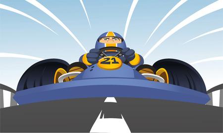 diminishing point: karting racer cartoon illustration