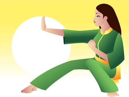 period costume: Kung fu woman illustration