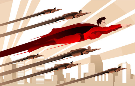 Legion of superheroes flying over city backround to the rescue over the city. With a mayor superhero dressed in red costume with red cape and other six superheroes in darker suits, with city backround vector illustration.