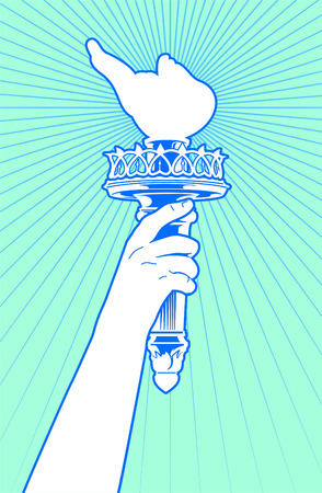 liberty: Statue of liberty hand holding torch. Illustration