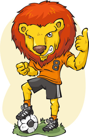 cartoon illustration of a Lion playing soccer.