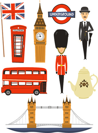 London cartoon icons Vector