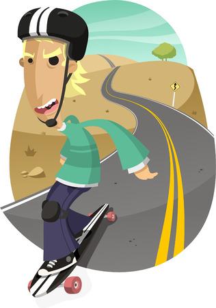 skateboard park: Longboard Adolescente art�stico, ilustraci�n vectorial de dibujos animados.