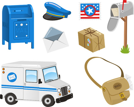 post box: Mail Set, Post Box, Postal Stamp, Envelope, Package, Bag, Van. Vector illustration cartoon. Illustration