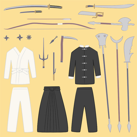 bushido: Martial arts equipment and weapons cartoon illustrations