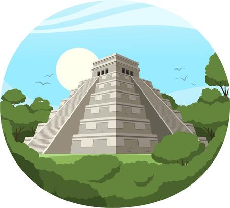 Maya Pyramid Old Mexican Stone Ruin, vector illustration cartoon.