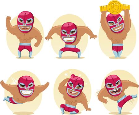 メキシコ レスリング選手の戦い Acrobat 戦闘機ルチャリブレ、ベクトル イラスト漫画。  イラスト・ベクター素材