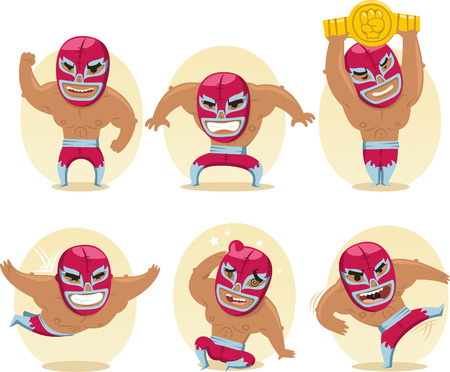 Mexican Wrestler Battle Acrobat Fighter Lucha Libre, vector illustration cartoon.