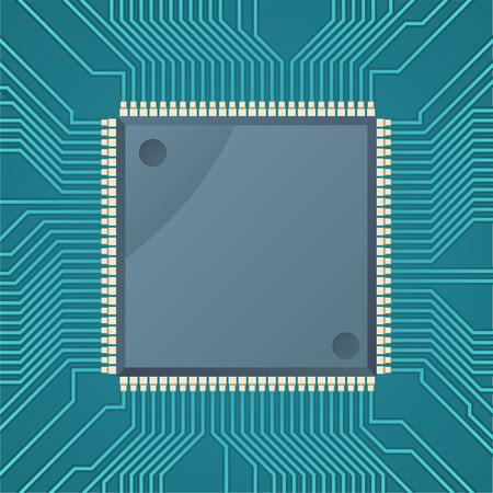 Computer chip microchip dots green display Vector Illustration Cartoon. Illustration