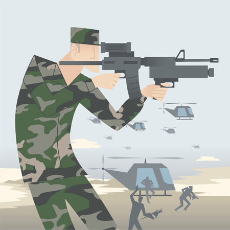 historic world event: Soldier with rifle in the middle of a military attack. Illustration
