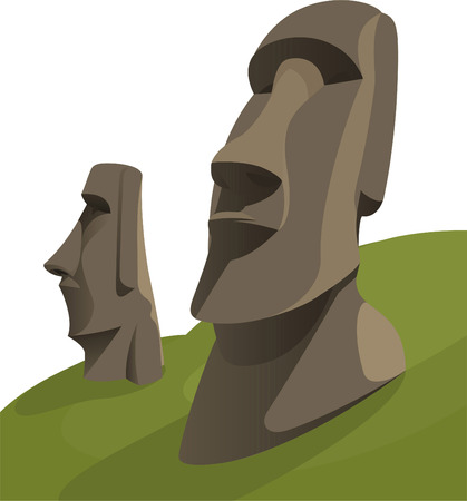 island: Moai Moais Monolithic Statues Polynesia Easter Island, vector illustration cartoon. Illustration