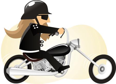 漫画のバイカーがバイクに乗る。
