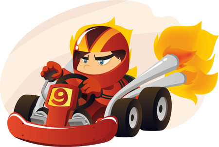 recreational pursuits: Karting going at super speed cartoon illustration