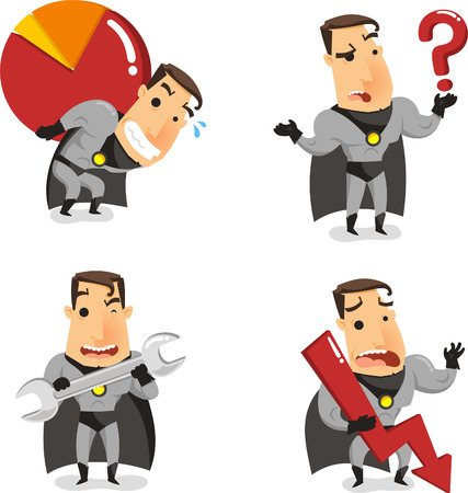 Office Superhero Super Employee, vector illustration cartoon.