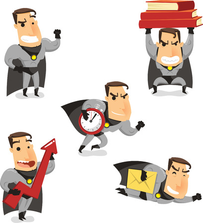 stage costume: Office Superhero Super Employee, with superhero standing proud, lifting heavy books, harrying up, lifting economy and flying with envelope. Vector illustration cartoon.
