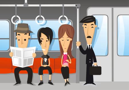 tren caricatura: Las personas que viajan en el metro