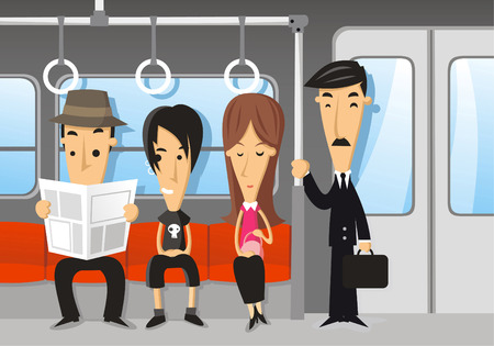 cartoon land: People travelling on the subway Illustration