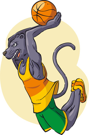 Panther playing basketball cartoon illustration Vector
