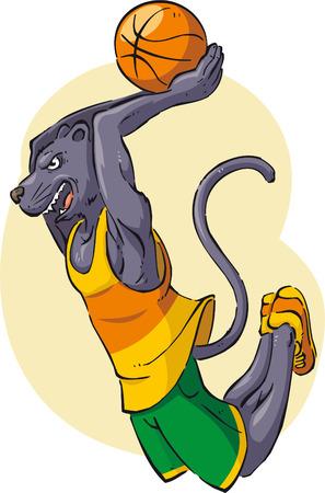 Panther playing basketball cartoon illustration Vector