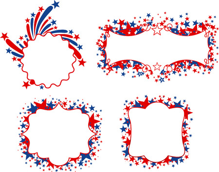 US patriotic banners with blank space to fill in. Four different United States of America banners with stars in red and blue. Vector illustrations.
