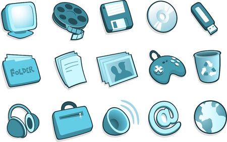 dvd room: PC system icons, with Screen Tv, Screener, Movie, Diskette, DVD, CD, CD-Room, Pendrive, Headphones, joystick, cup, pictures, cards, envelope, suitcase, speakers, at, globe. Vector illustration cartoon. Illustration