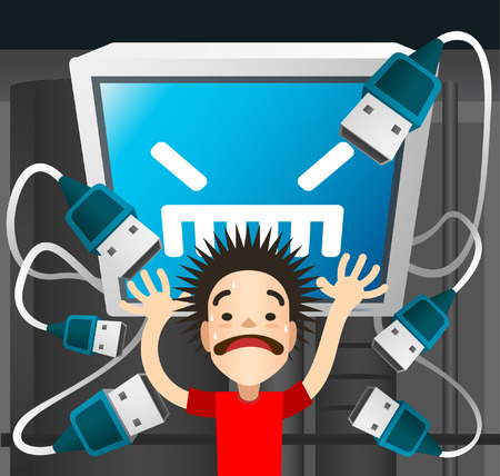 A pc USB cables trying to plug in on a scared boy, shouting in panic, with open arms, cartoon style. Vector illustration. Ilustrace