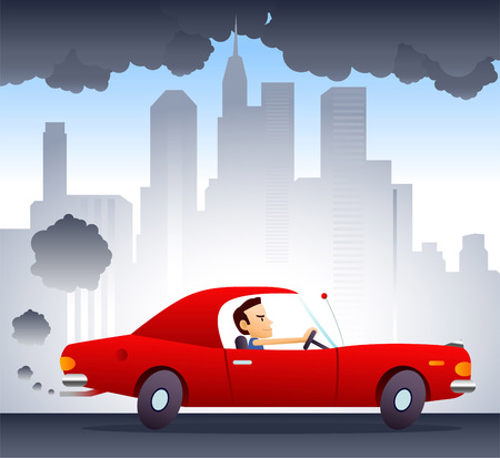 contaminacion del aire: Coche contaminando el medio ambiente impulsado por sonriente y hombre de confianza. Fondo de la ciudad ilustraci�n vectorial de dibujos animados. Vectores